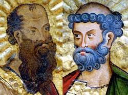 Bild: Die Heiligen Paulus und Petrus, Ausschnitt,, Wormser Tafeln, um 1250/60, Foto: Wolfgang Fuhrmannek