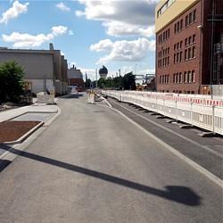 Die südliche Fahrbahn der Bismarckstraße ist fertiggestellt / Bild: HEAG mobilo GmbH