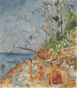 Erich Heckel (1883–1970) - Badende am Strand, 1913, Öl/Leinwand; 80 x 70 cm, © Nachlaß Erich Heckel, Hemmenhofen, Foto: Wolfgang Fuhrmannek, HLMD