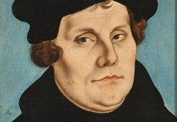 Bild: Lucas Cranach d.Ä., Bildnis Martin Luther, linker Teil des Diptychon mit Bildnis Martin Luthers und seiner Ehefrau Katharina von Bora, 1529, Foto: Wolfgang Fuhrmannek, HLMD