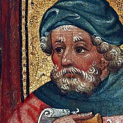 Bild: Hl. Josef, Ausschnitt aus der Heiligen Sippe, Mittelrheinischer Meister, um 1430, Foto: Wolfgang Fuhrmannek , HLMD